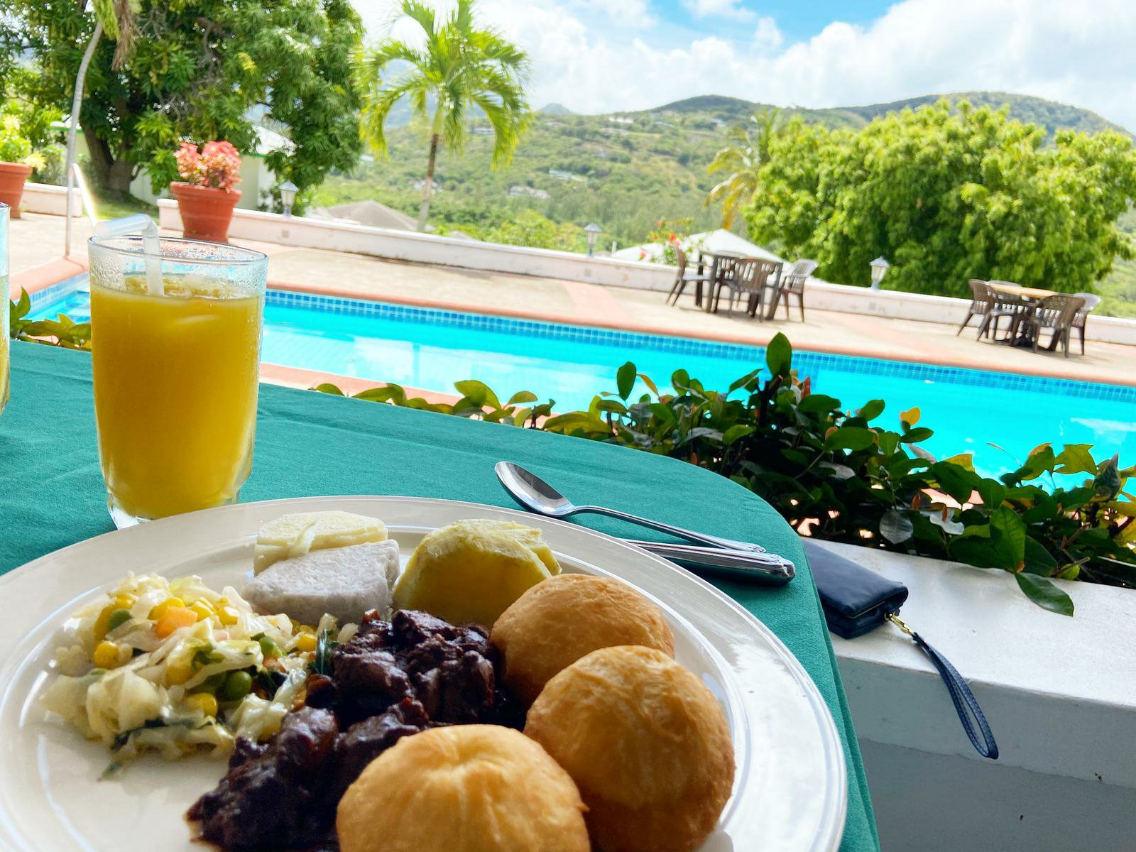Chicken liver with mixed veggie, sweet potatoes and Johnny Cakes by Chef Toni James - The Weekend Takeout (Nerissa Golden Photo)