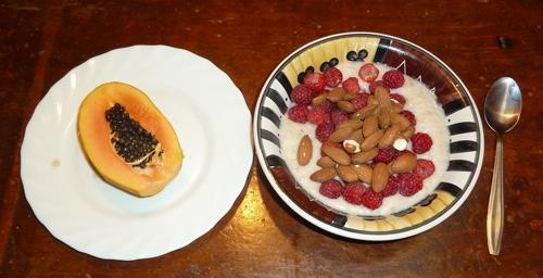 Papaya, Raspberries and Almonds