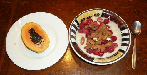 Papaya, Raspberries and Almonds