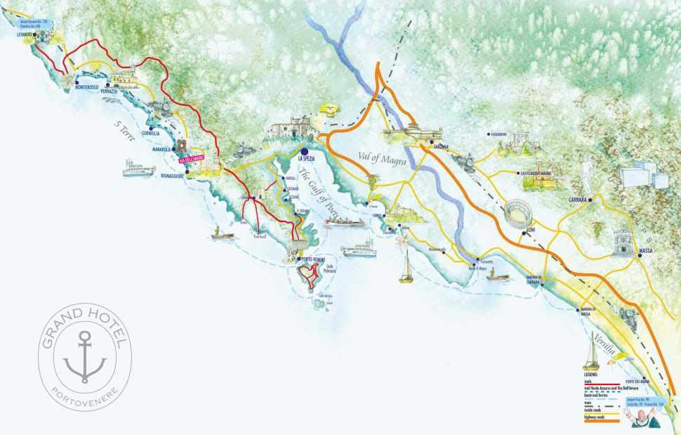 Portovenere Italy Map Cinque Terre Bay of Poets