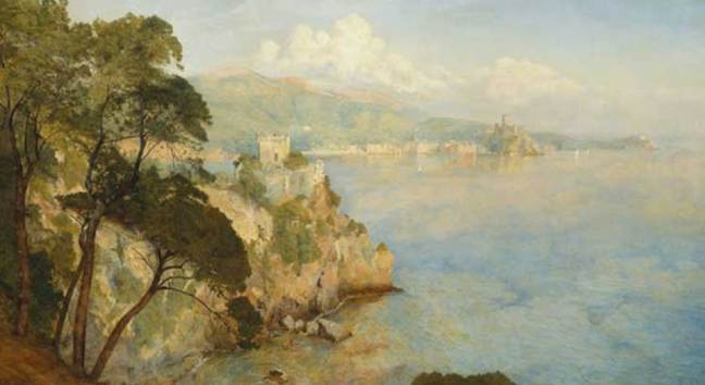 A painting by Henry Roderick Newman (1884): the gulf framed by the castles of San Terenzo and Lerici