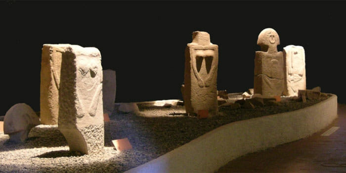 Menhir statues at the Museum of the Stele Statues of Lunigiana