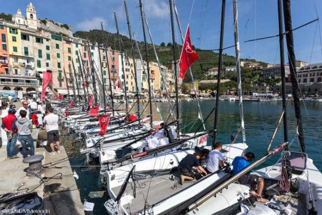 Sailboats in the harbor of Portovenere, Liguria, Italy