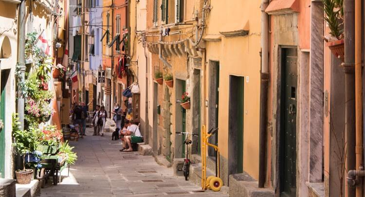 Shopping street in Portovenere, Liguria