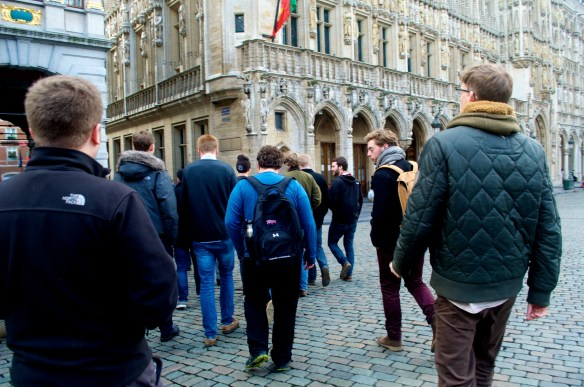 Pictured above, Gus helping to lead a study tour in Brussels.