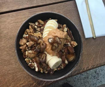 Acai bowl with banana and nuts