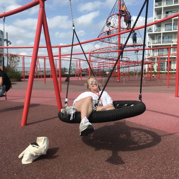 Gracr on a swing