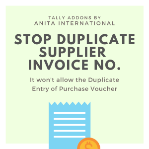 Stop Duplicate Supplier Invoice No in Tally AddOn TDL