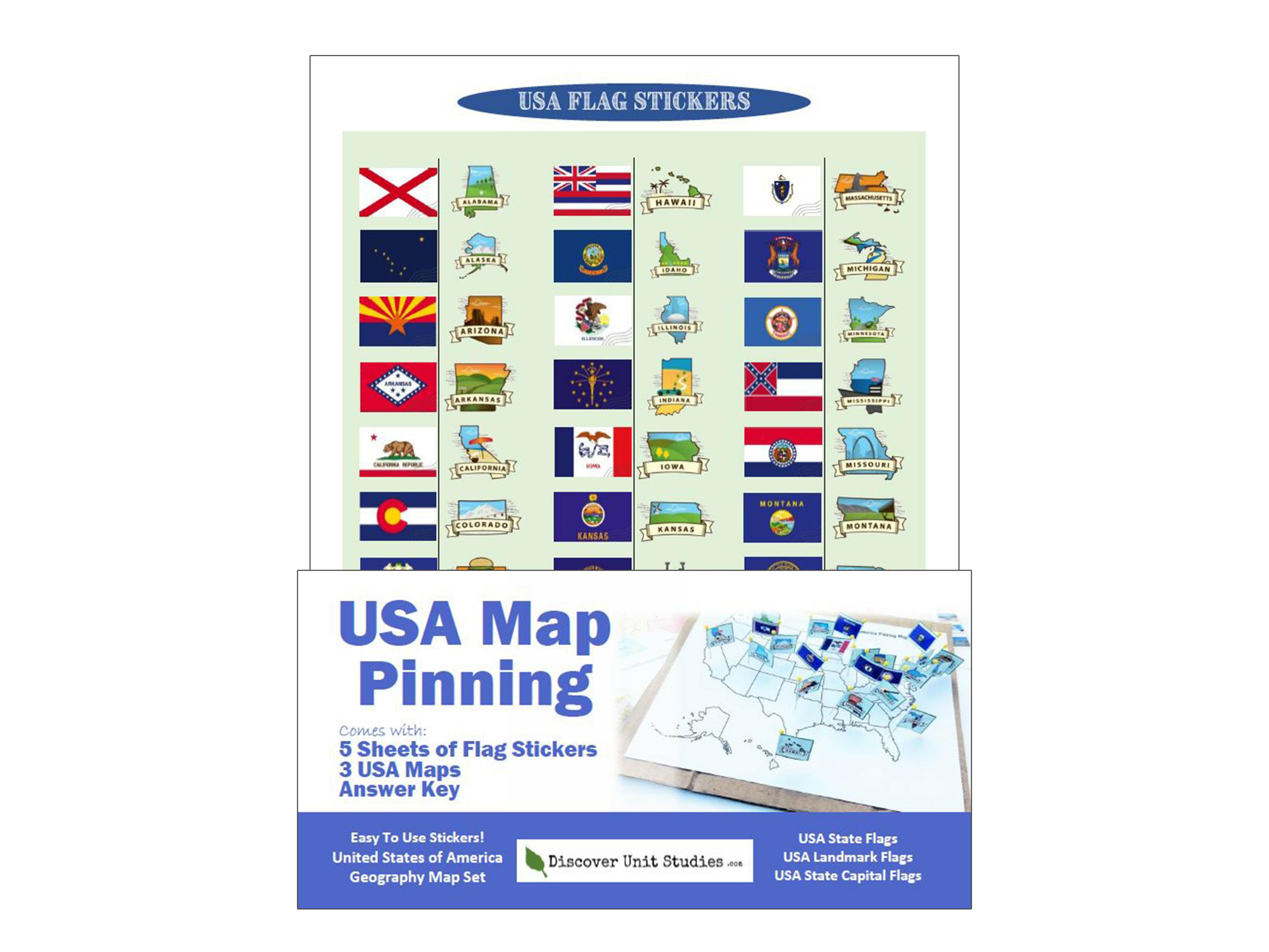 Usa Map Pinning Set Sticker Flags