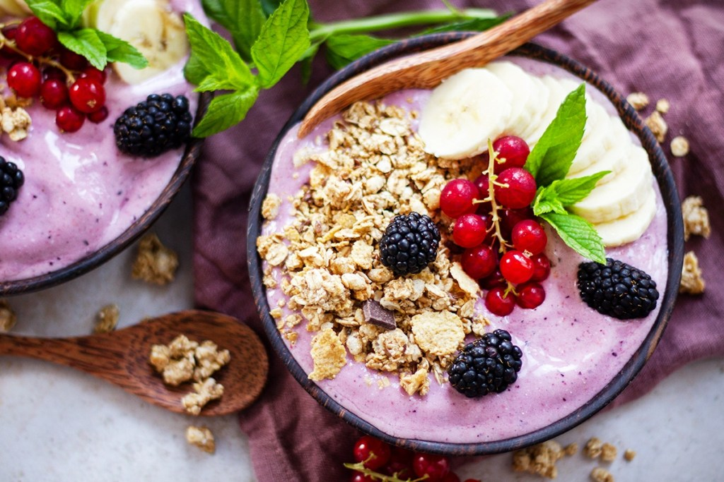 Frozen smoothie bowl with berries and coconut milk.