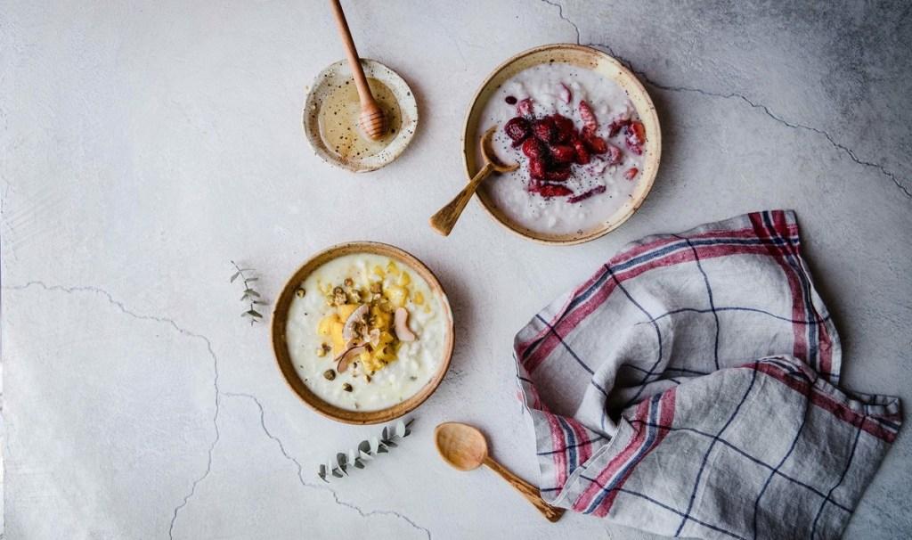 Vegan Pomegranate Pineapple Breakfast Rice Pudding