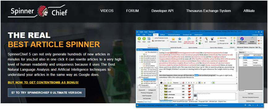 Best Paraphrasing tool - Spinner Chief - Top class article spinner rewriter