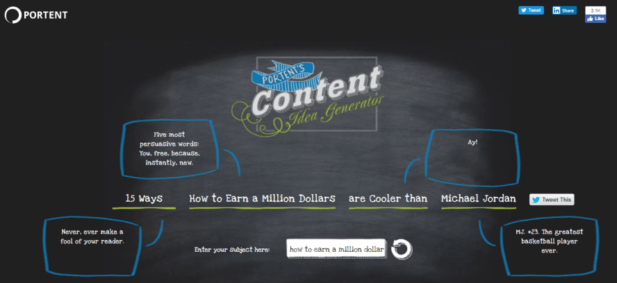 Portent blog content topic idea generator
