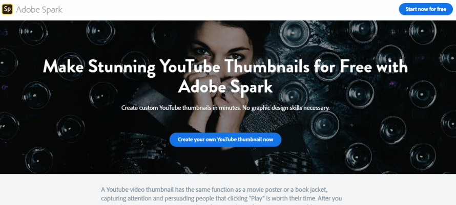 Adobe Spark - online youtube & blog thumbnail maker & generator