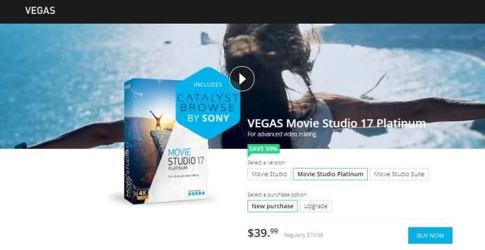 Vegas Movie Studio  Platinum Video Editor under $50
