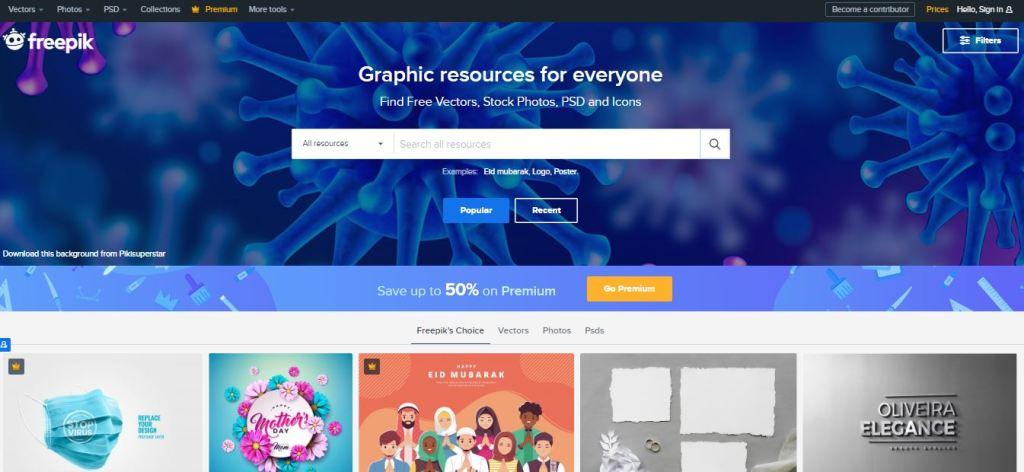 Freepik a similar website as Shutterstock