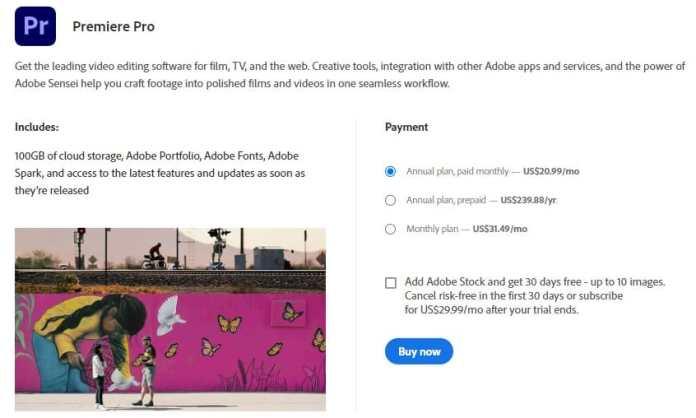 Adobe Premiere Pro pricing