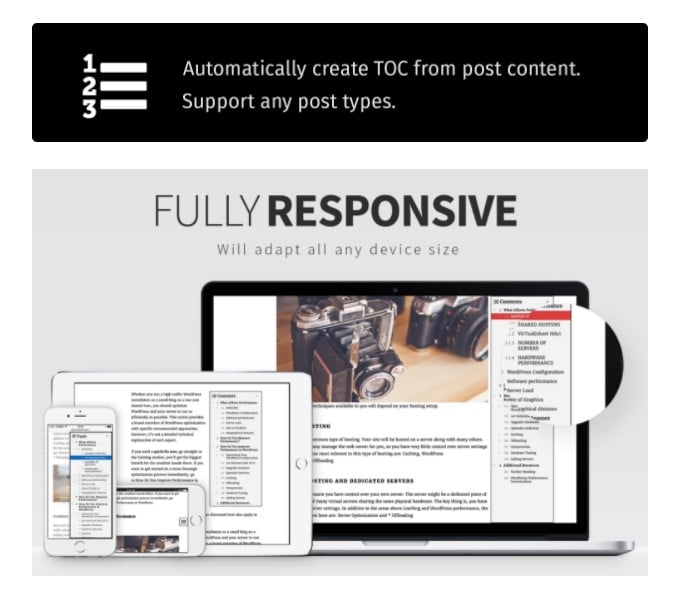 Fixed ToC floating table of contents wordpress Plugin
