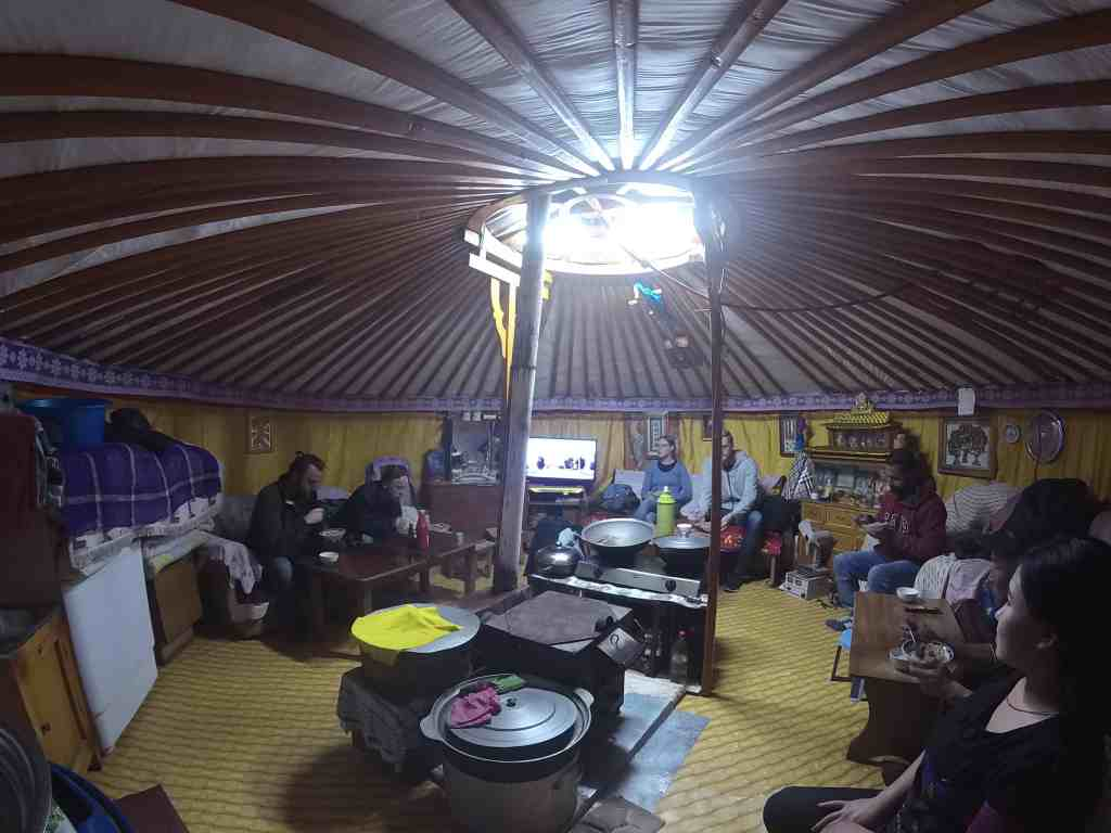 Dinner in the yurt