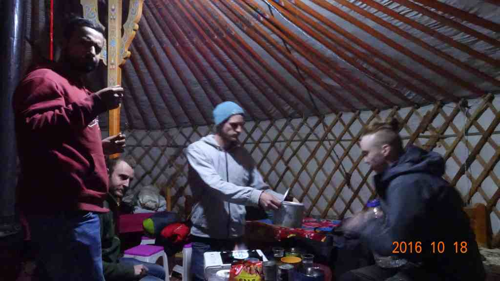 Cooking dinner in the yurt