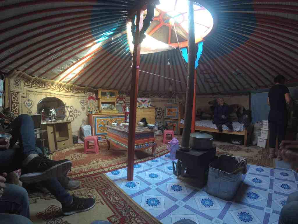 Inside the old ladies yurt