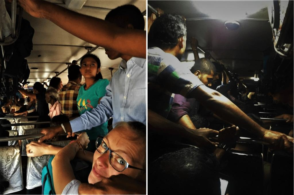 Bus in Sri Lanka; super crowded busses