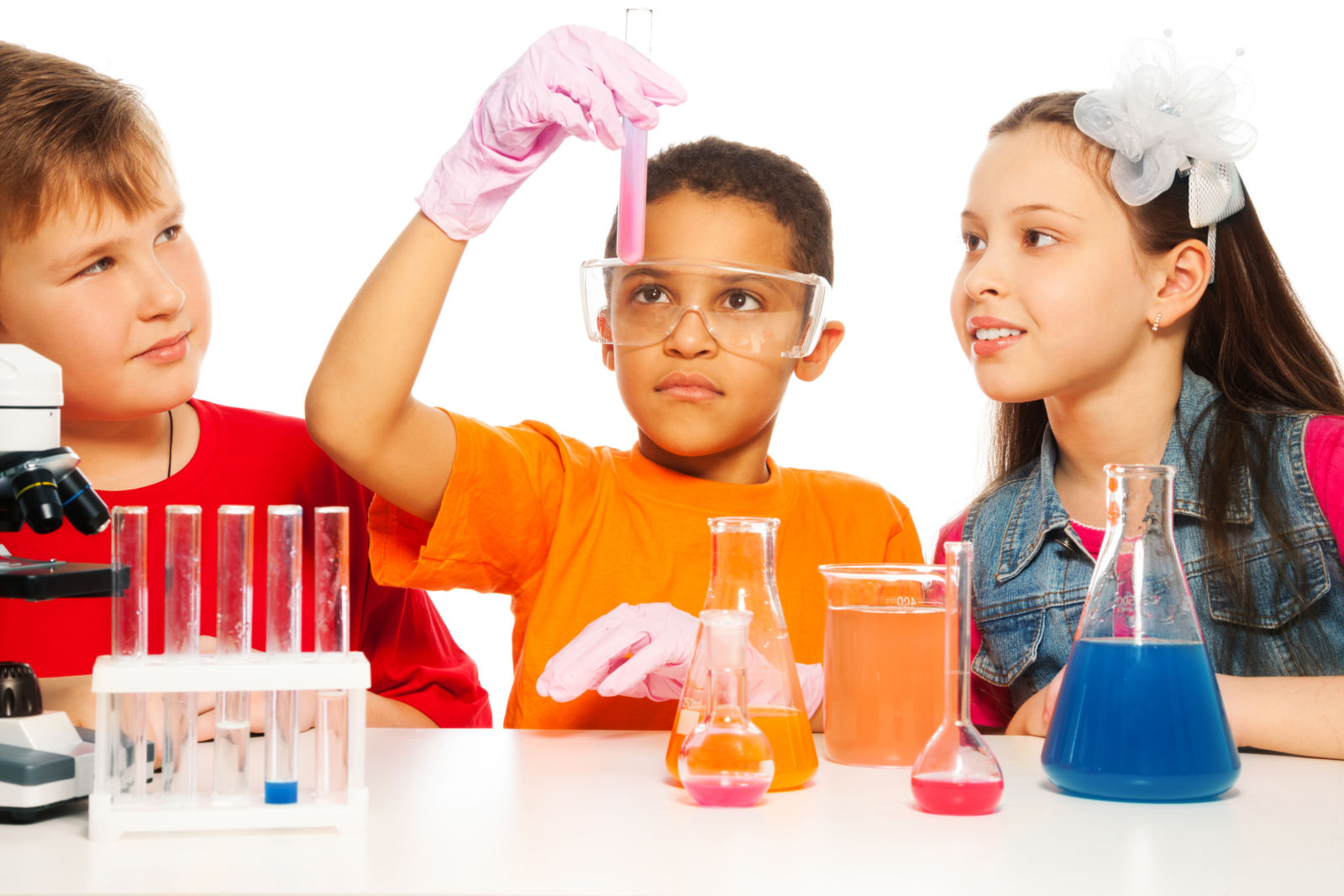 Children with a chemistry set