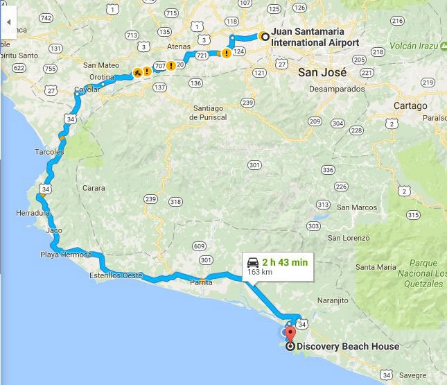 Driving from Juan Santamaria Airport in San Jose to Discovery Beach House in Manuel Antonio