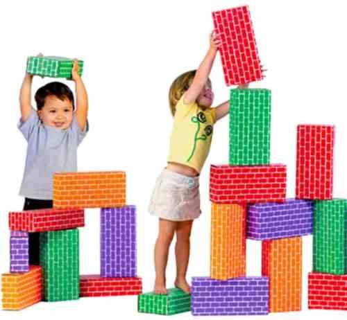 gross motor development-Giant Blocks - ImagiBRICKS™ Giant Rainbow Blocks-two toddlers building with giant rainbow block