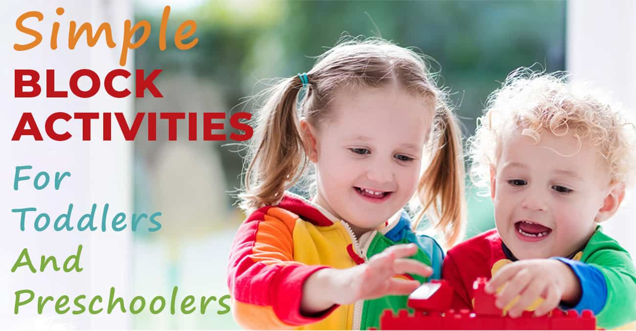 block activities for toddlers and preschoolers-block play-two toddlers playing with colorful blocks