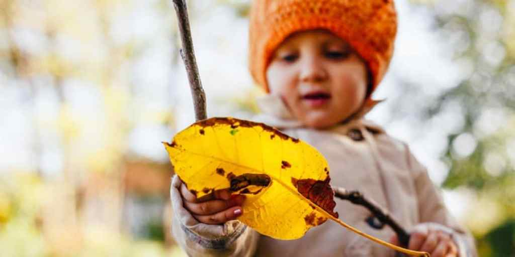 outdoor gross motor activities-nature activities for kids-outside activities for kids-nature scavenger hunt-young girl hold a huge leaf she found