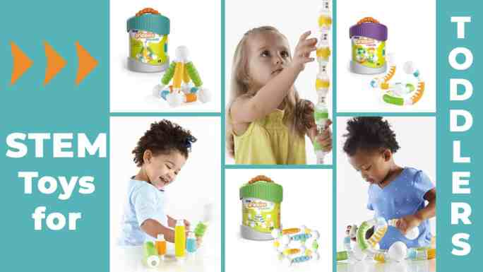 stem toys for toddlers-block play-magnetic building toys-3 young girls playing with Grippies Builders, Shakers and Curves