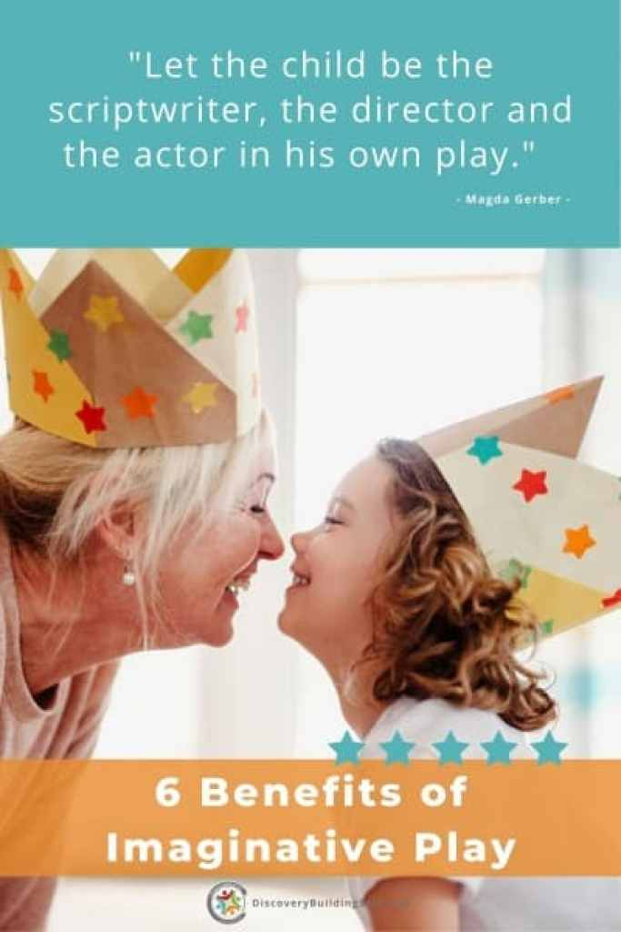 benefits of imaginative play-grandmother and granddaughter in paper crowns enjoying playing together