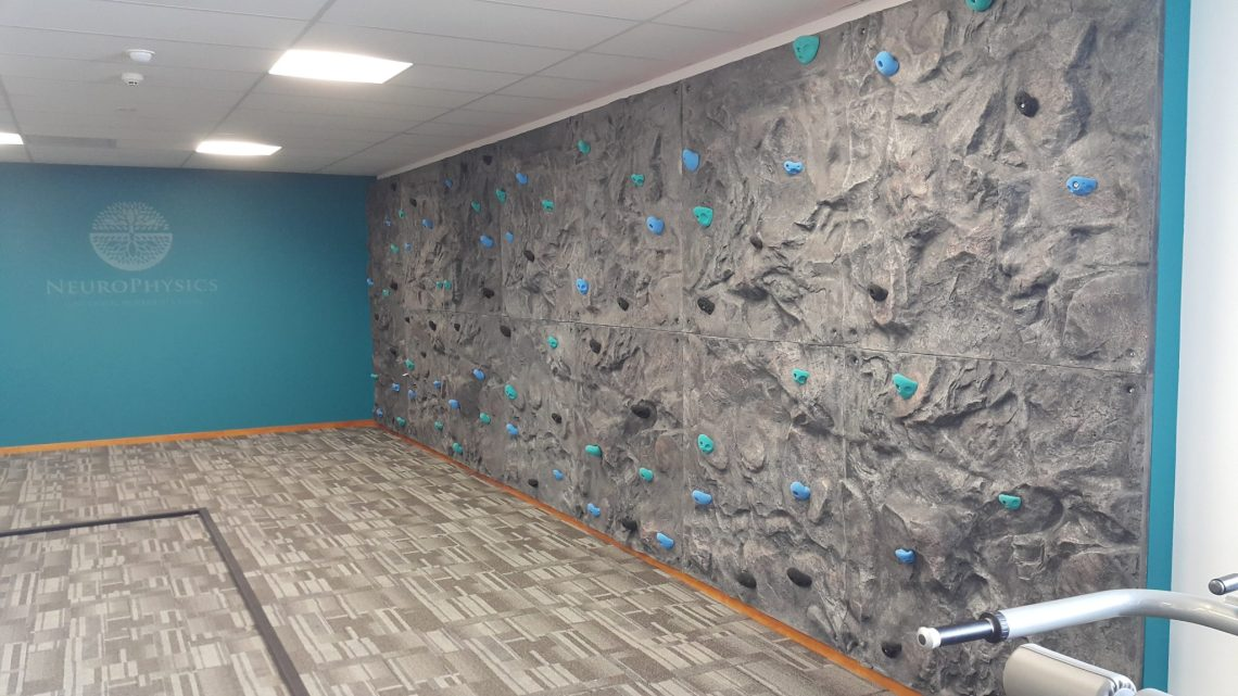 Indoor bouldering wall at a gym