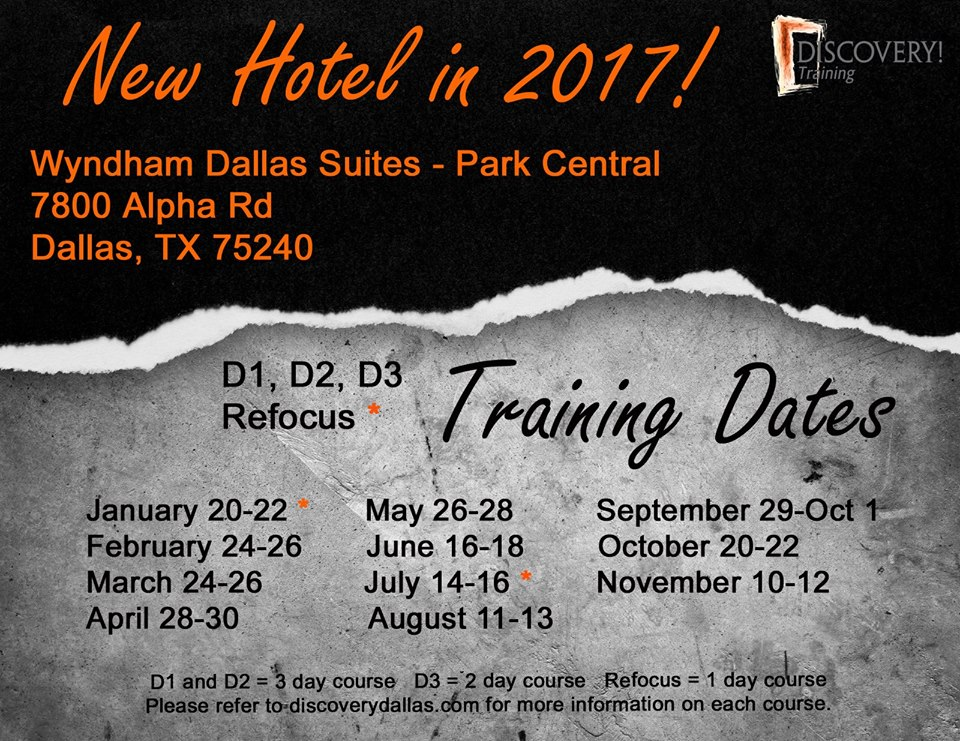 training location has changed for 2017 discovery training