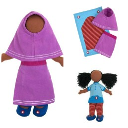 This fair-trade, 100% organic cotton Prayer Time Doll Set is one of the 4 designs we have left in stock. A toddler would enjoy holding her close and bringing her along for prayers. Price: $35.00