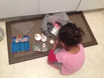 "While she waited for me to pour the batter, she engaged in dramatic play using extra supplies to make ""birthday cupcakes"""