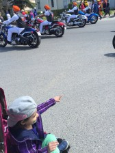 H loved seeing the motorcycles.