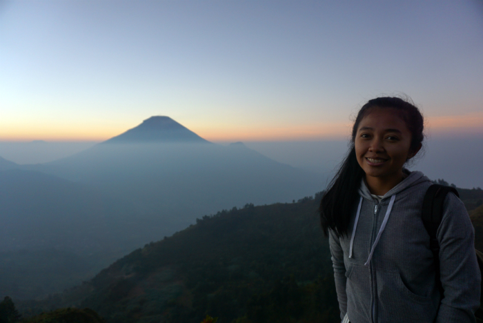 sunrise at Sukinir hill at Dieng