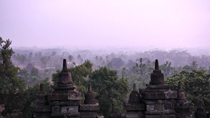sunrise from the top of borobudur temple via manohara