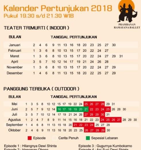 Ramayana Ballet Prambanan 2018 schedule
