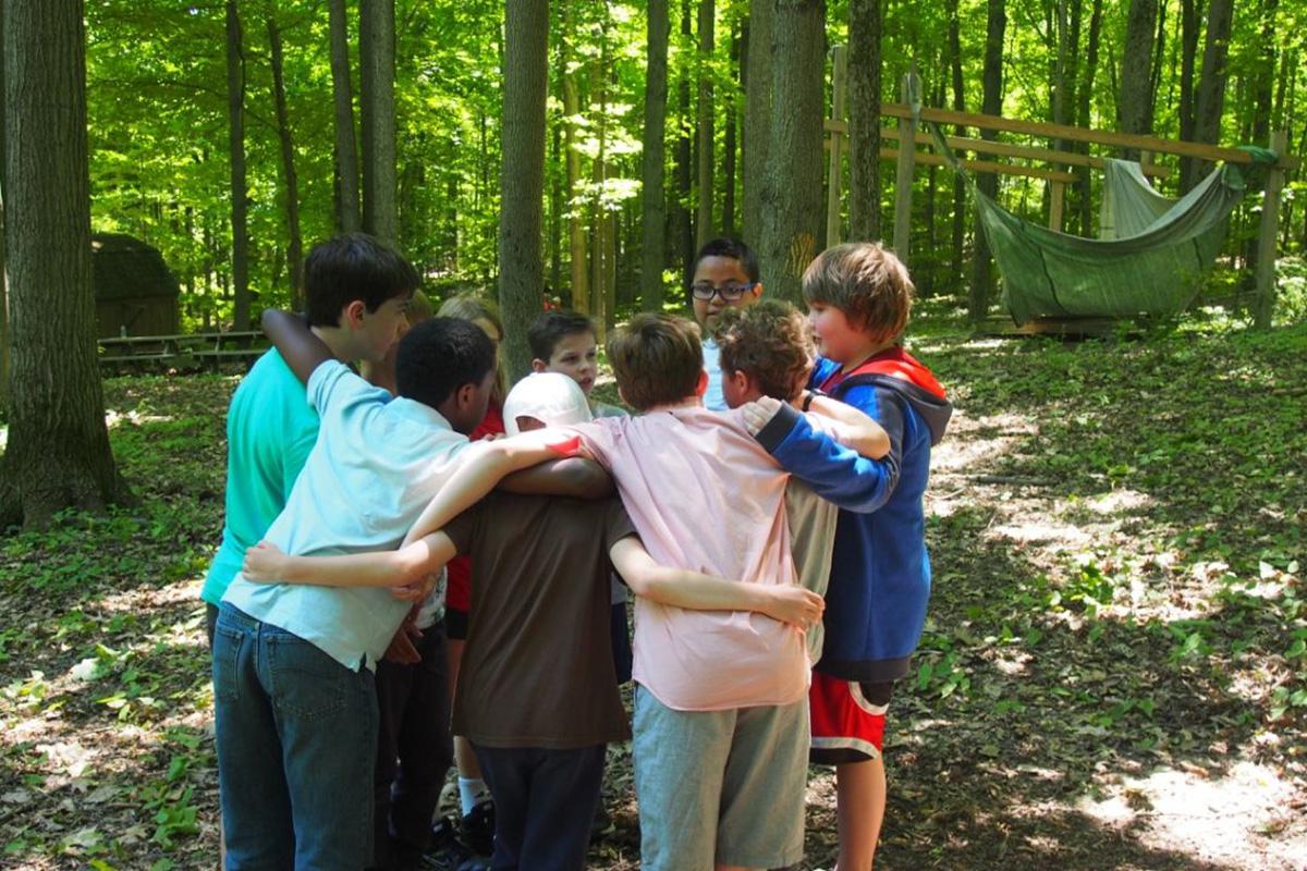 children huddling