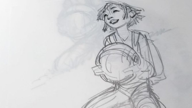 An early black-and-white sketch of Fei Fei by 'Over the Moon' director Glen Keane.