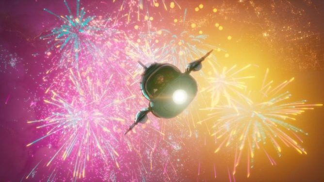 Fei Fei flys in her rocket as fireworks explode in the sky as seen in Glen Keane's 'Over the Moon.'