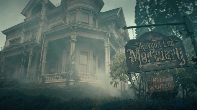 "A giant ghastly house with a sign outside that reads ""Raven's End Mortuary - Help Wanted"" as seen in Ryan Spindell's 'The Mortuary Collection.'"
