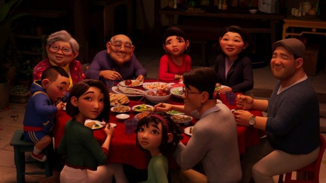 Fei Fei sits with her entire family at a round table as seen in Glen Keane's 'Over the Moon.'