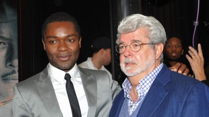 David Oyelowo with George Lucas on the red carpet premiere of Red Tails.