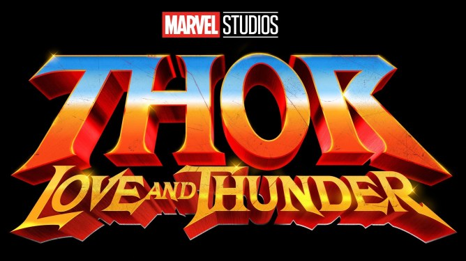 The official Thor: Love and Thunder logo from the upcoming Marvel Studios film.