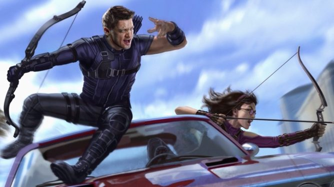 Concept art of Hawkeye and Kate Bishop from the upcoming Disney+ Marvel Series.