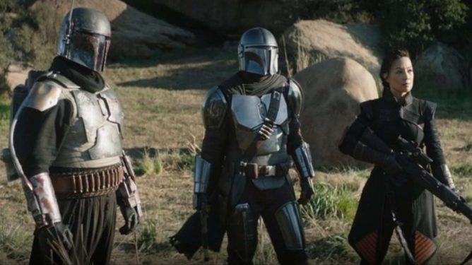 Temuera Morrison back again in the iconic Boba Fett armor alongside Pedro Pascal and Ming Na-Wan in Chapter 14 of The Mandalorian.